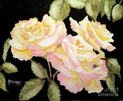 Painting - Yellow Garden Roses by Carol Grimes