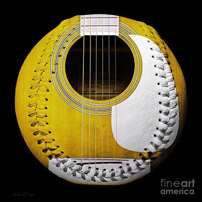 Music Digital Art - Yellow Guitar Baseball White Laces Square by Andee Design