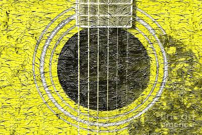 Yellow Guitar - Digital Painting - Music Print by Barbara Griffin