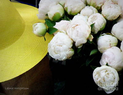 Yellow Hat With Peonies Art Print by Lainie Wrightson