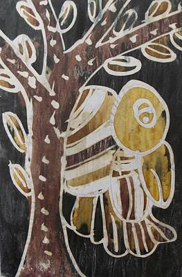 Yellow Head Brown Owl Bird On The Tree Art Print by Okunade Olubayo