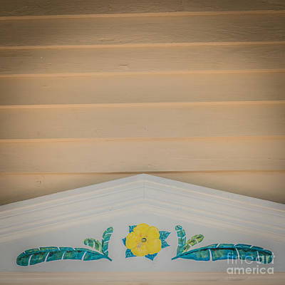 Yellow Hibiscus Wall Detail Key West - Square - Hdr Style Art Print by Ian Monk
