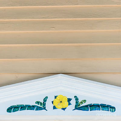 Florida Flowers Photograph - Yellow Hibiscus Wall Detail Key West - Square  by Ian Monk