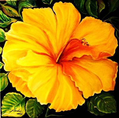 Art Print featuring the painting Yellow Hibiscus by Yolanda Rodriguez