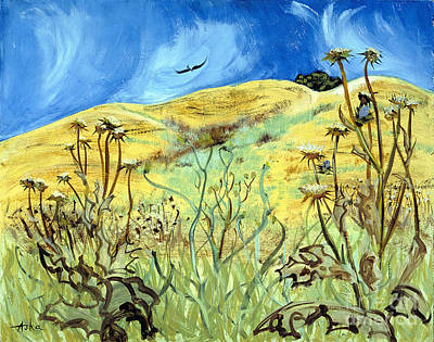 Art Print featuring the painting Yellow Hills And Thistles  by Asha Carolyn Young