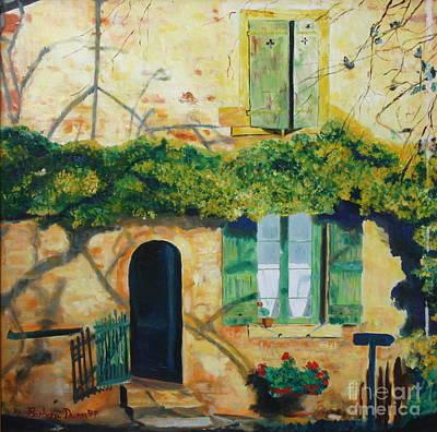 Yellow House With Ivy Art Print by Barbara Lynn Dunn