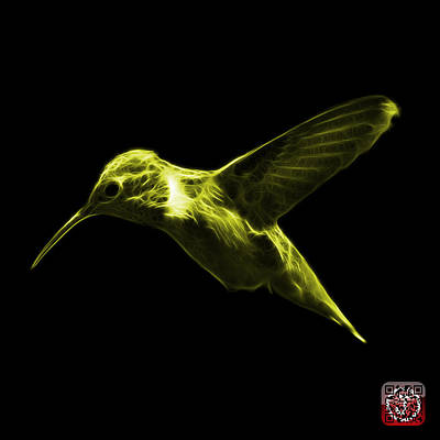 Digital Art - Yellow Hummingbird - 2054 F by James Ahn