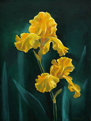 Painting - Yellow Iris by Synnove Pettersen
