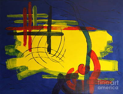 Yellow Island On Blue Art Print by Christiane Schulze Art And Photography