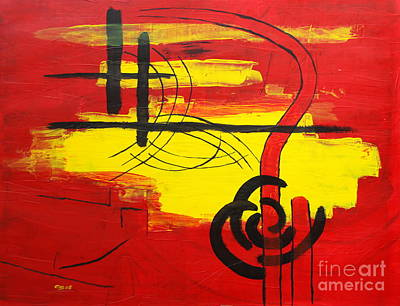 Yellow Island On Red II Art Print by Christiane Schulze Art And Photography