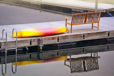 Art Print featuring the photograph Yellow Kayak At The Sparks Marina by Janis Knight