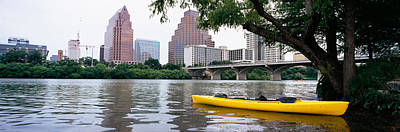 Lady Bird Lake Photograph - Yellow Kayak In A Reservoir, Lady Bird by Panoramic Images