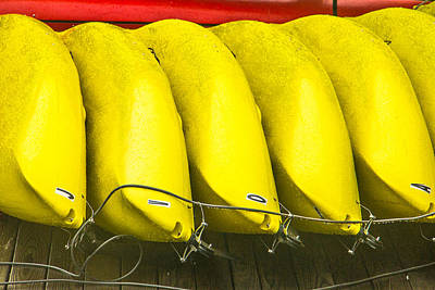 Yellow Kayaks Art Print by Steven Bateson