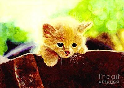 Red Roses - Yellow Kitten by Hailey E Herrera