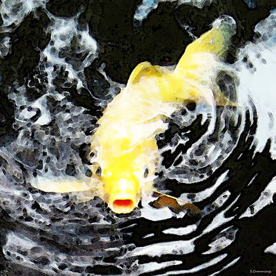 Yellow Koi - Black And White Art Print by Sharon Cummings