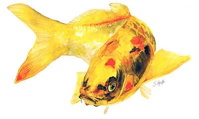 Painting - Yellow Koi Fish by Stephanie  Kriza