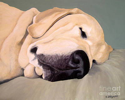Painting - Yellow Lab - A Head Pillow Is Nice by Amy Reges