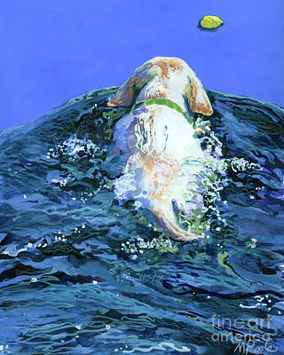 Water Retrieve Painting - Yellow Lab  Blue Wake by Molly Poole