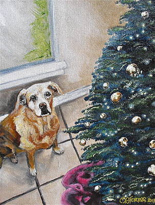 Yellow Lab Christmas Art Print