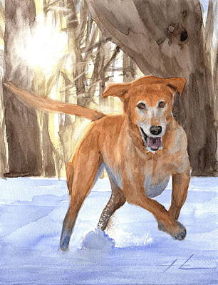 Dogs In Snow Drawing - Yellow Lab Dog In Snow Watercolor Portrait by Mike Theuer