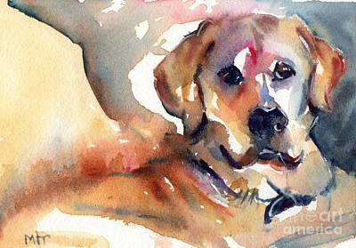 Watercolor Pet Portraits Painting - Yellow Lab by Maria's Watercolor
