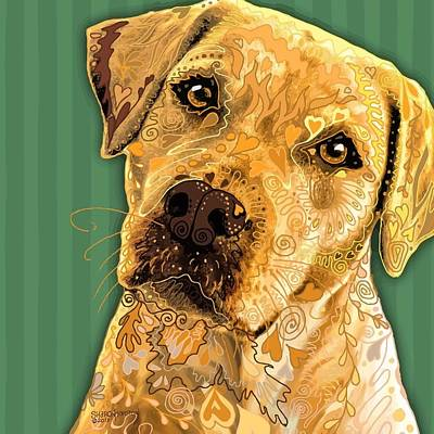 Labrador Retriever Digital Art - Yellow Lab Squared by Sharon Marcella Marston