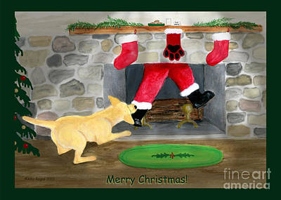 Painting - Yellow Lab Tugs Santa by Amy Reges