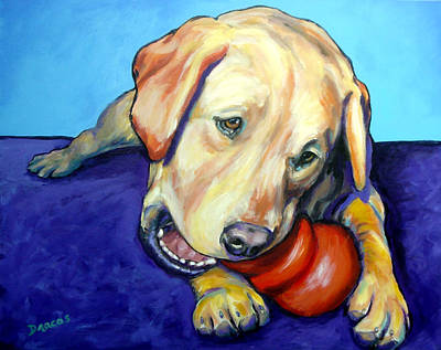 Toy Dog Painting - Yellow Lab With Kong by Dottie Dracos