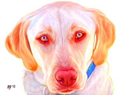 Yellow Labrador Dog Art With White Background Art Print by Iain McDonald