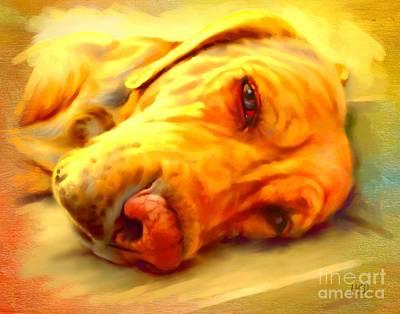 Yellow Labrador Portrait Art Print by Iain McDonald