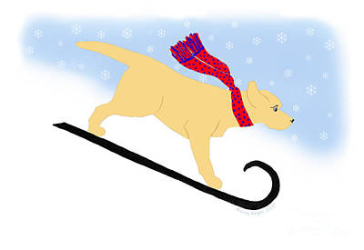 Digital Art - Yellow Labrador Snowboard Dog by Amy Reges