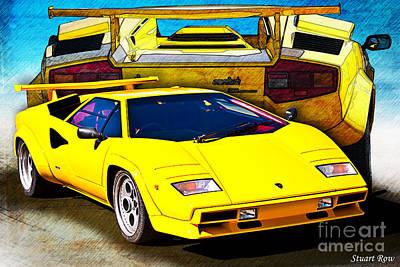 Photograph - Yellow Lamborghini Countach by Stuart Row