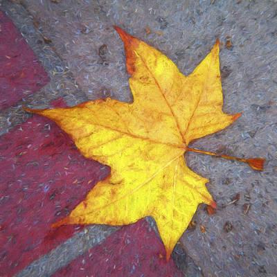 Red Leaf Digital Art - Yellow Leaf Autumn by Carol Leigh
