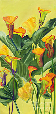 Painting - Yellow Lilies by Annette M Stevenson