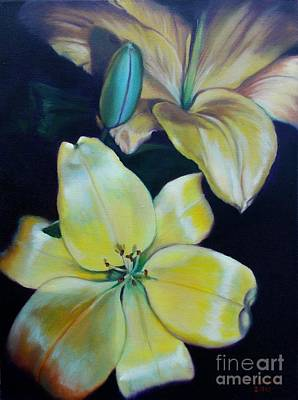 Painting - Yellow Lilies by Marlene Book