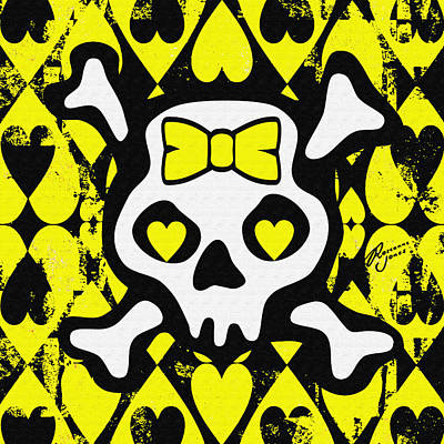 Digital Art - Yellow Love Heart Skull by Roseanne Jones