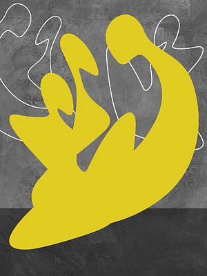 Love Making Mixed Media - Yellow Lovers by Naxart Studio