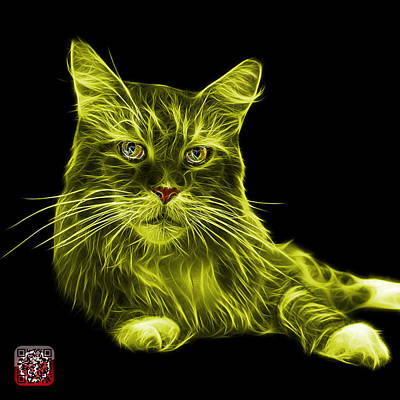 Painting - Yellow Maine Coon Cat - 3926 - Bb by James Ahn