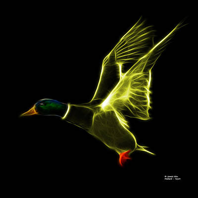 Mixed Media - Yellow Mallard Pop Art - 7664 - Bb by James Ahn