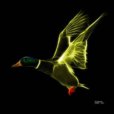 Mixed Media - Yellow Mallard Pop Art - 7664 - Bb by James Ahn