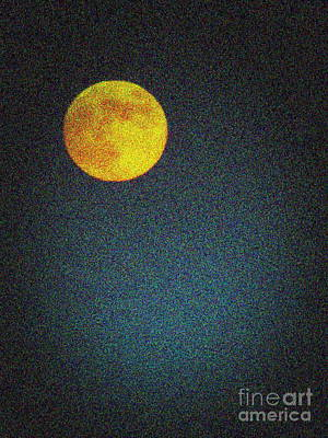 Yellow Man In The Moon Art Print by Colleen Kammerer