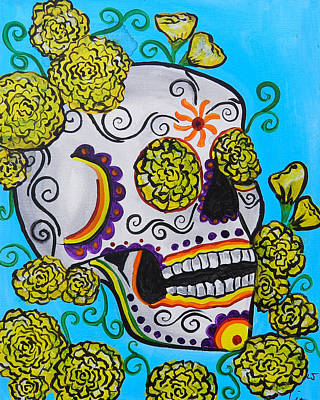 Saint-lo Painting - Yellow Marigold Skull by Lovejoy Creations