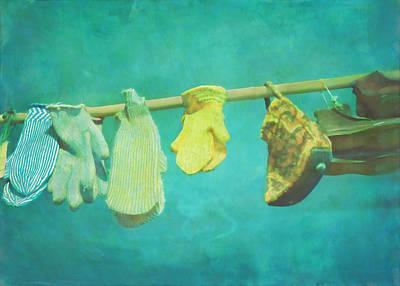 Kim Digital Art - Yellow Mittens by Kim Swanson