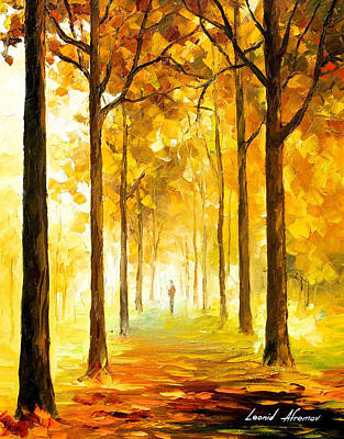 Yellow Mood - Palette Knife Oil Painting On Canvas By Leonid Afremov Original by Leonid Afremov