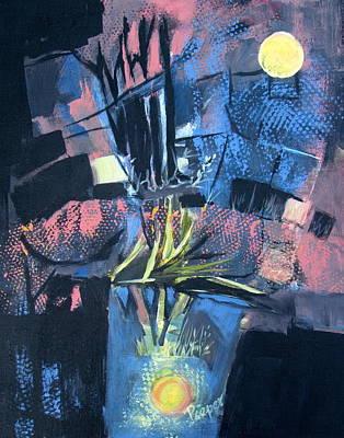 Yellow Moon In A Blue Bucket Art Print by Betty Pieper