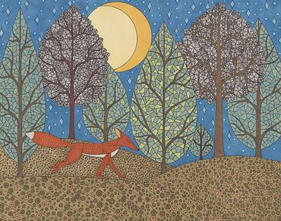 Drawing - Yellow Moon Rising by Pamela Schiermeyer