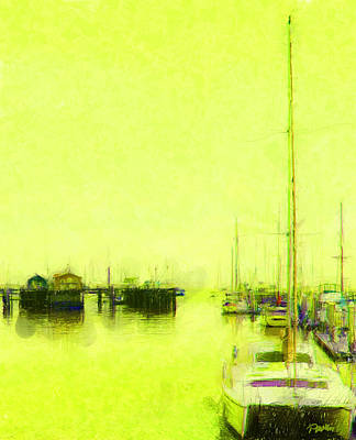 Digital Art - Yellow Mooring by Jim Pavelle