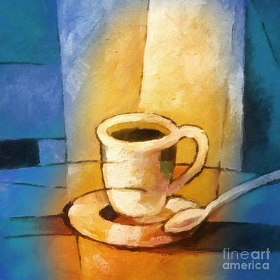 Coffee Painting - Yellow Morning Cup by Lutz Baar