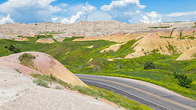 Photograph - Yellow Mounds Of Badland by John M Bailey