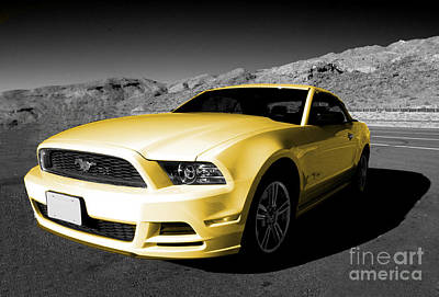 Gold Ford Photograph - Yellow Mustang by Rob Hawkins
